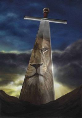 lion reflected in sword